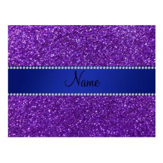 Personalized name purple glitter diamonds postcard