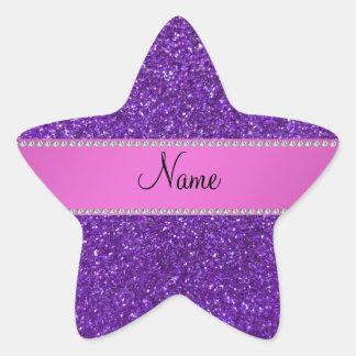 Personalized name purple glitter diamonds star sticker