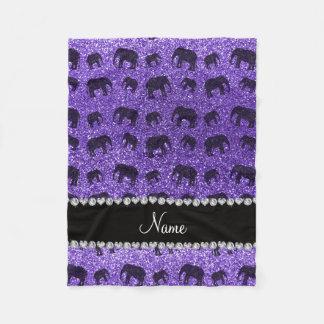 Personalized name purple glitter elephants fleece blanket