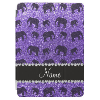 Personalized name purple glitter elephants iPad air cover