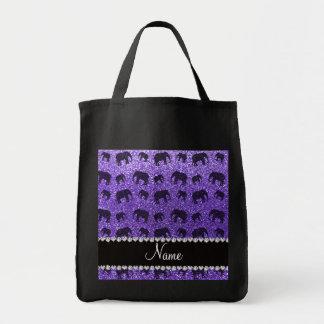 Personalized name purple glitter elephants tote bag