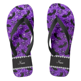 Personalized name purple glitter fancy shoes bows flip flops