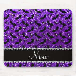 Personalized name purple glitter fancy shoes bows mouse pad