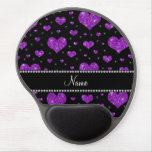 Personalized name purple glitter hearts gel mouse pad