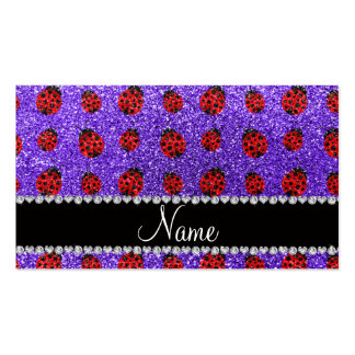 Personalized name purple glitter ladybug business card template