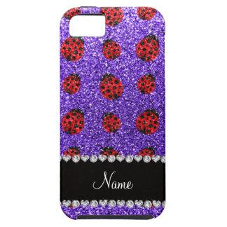 Personalized name purple glitter ladybug iPhone 5 case