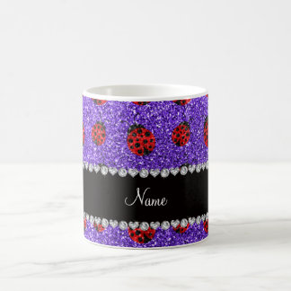 Personalized name purple glitter ladybug classic white coffee mug