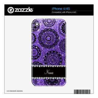 Personalized name purple glitter mandalas decal for the iPhone 4