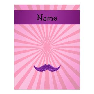 "Personalized name purple glitter mustache 8.5"" x 11"" flyer"