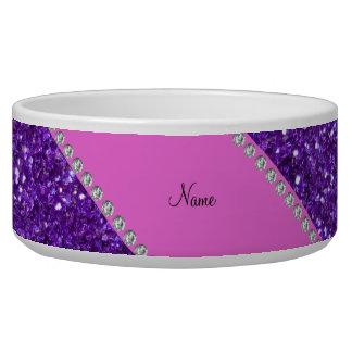 Personalized name purple glitter pink diamonds bowl