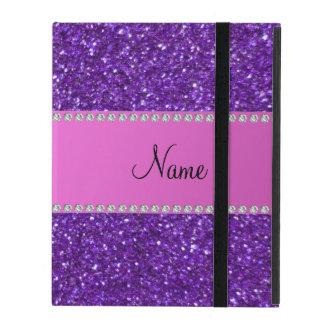 Personalized name purple glitter pink diamonds iPad folio cases