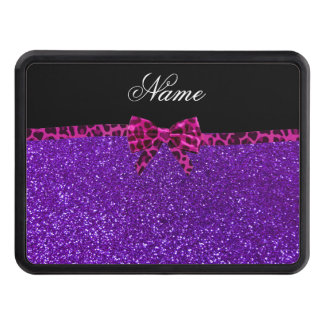 Personalized name purple glitter pink leopard bow trailer hitch cover