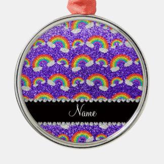 Personalized name purple glitter rainbows ornament