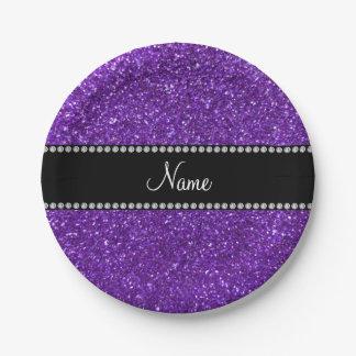 Personalized name purple glitter 7 inch paper plate