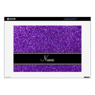 Personalized name purple glitter skin for laptop