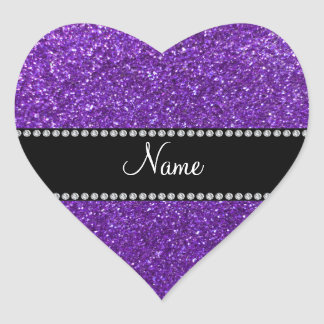 Personalized name purple glitter heart stickers