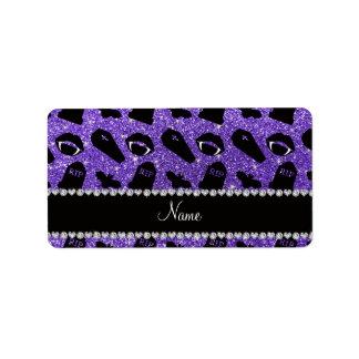 Personalized name purple glitter vampire label