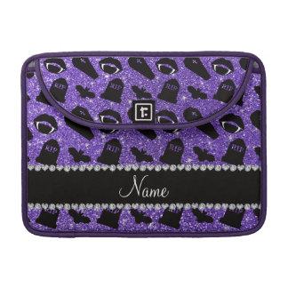 Personalized name purple glitter vampire MacBook pro sleeves