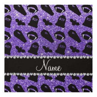 Personalized name purple glitter vampire panel wall art