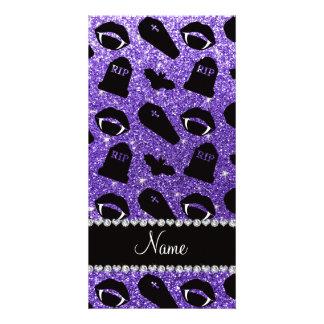 Personalized name purple glitter vampire photo card