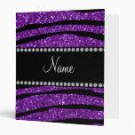 Personalized name purple glitter zebra stripes binder