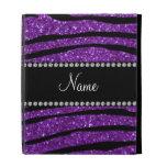 Personalized name purple glitter zebra stripes iPad folio covers