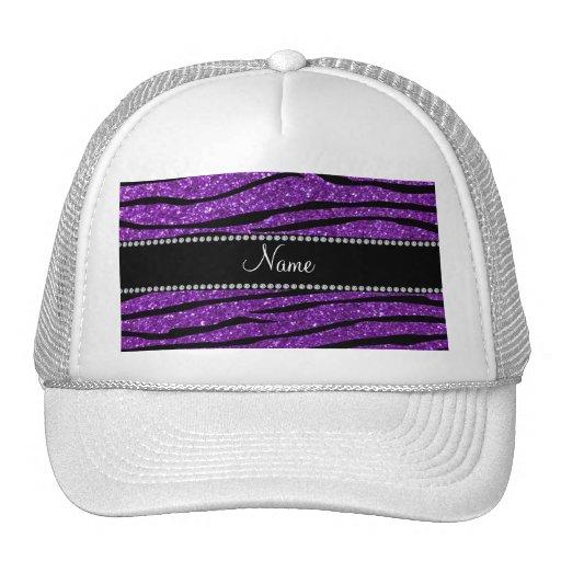 Personalized name purple glitter zebra stripes hats