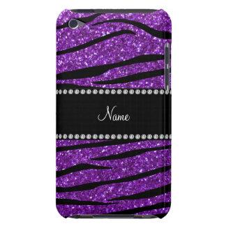 Personalized name purple glitter zebra stripes iPod touch cover