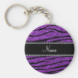 Personalized name purple glitter zebra stripes key chains