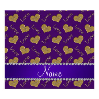Personalized name purple gold hearts mom love poster