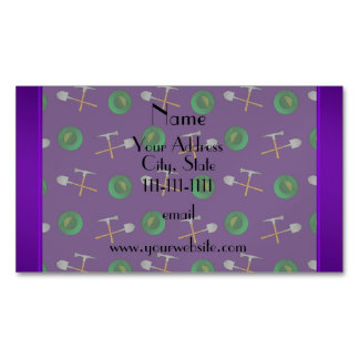 Personalized name purple gold mining magnetic business cards (Pack of 25)