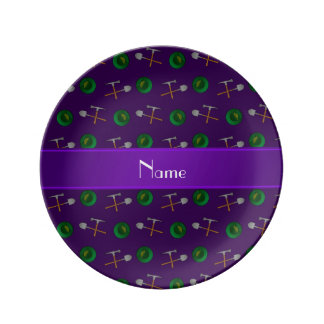 Personalized name purple gold mining porcelain plate