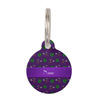 Personalized name purple gold mining pet ID tags
