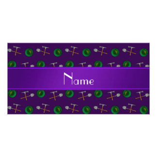 Personalized name purple gold mining personalized photo card