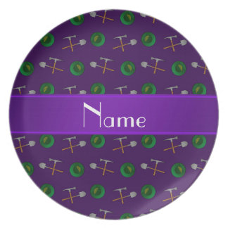 Personalized name purple gold mining dinner plates
