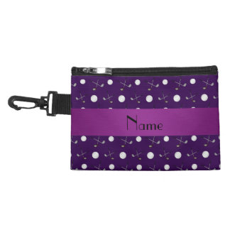 Personalized name purple golf balls accessory bag