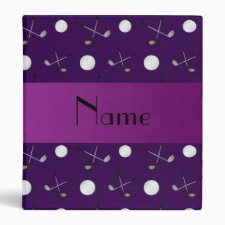 Personalized name purple golf balls binder