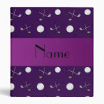 Personalized name purple golf balls binders