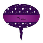 Personalized name purple golf balls cake topper