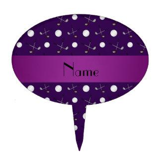 Personalized name purple golf balls cake topper