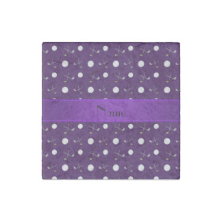 Personalized name purple golf balls stone magnet