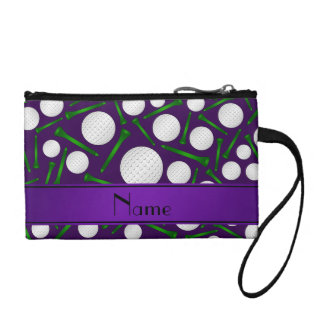 Personalized name purple golf balls tees change purse