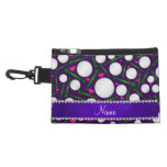 Personalized name purple golf balls tees hearts accessory bag