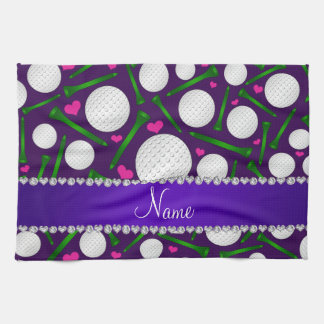 Personalized name purple golf balls tees hearts kitchen towel
