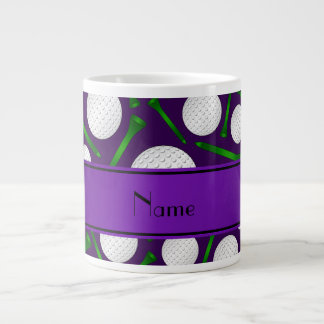 Personalized name purple golf balls tees large coffee mug