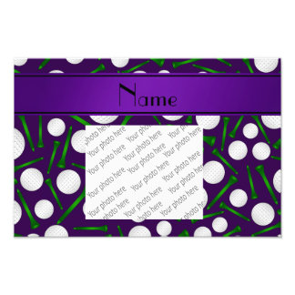 Personalized name purple golf balls tees photograph