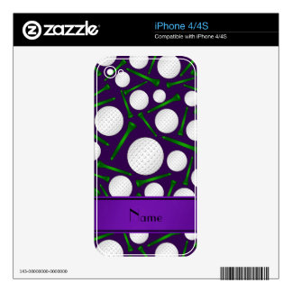 Personalized name purple golf balls tees decals for the iPhone 4S
