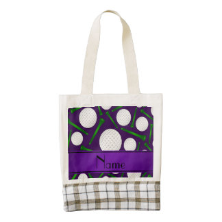 Personalized name purple golf balls tees zazzle HEART tote bag
