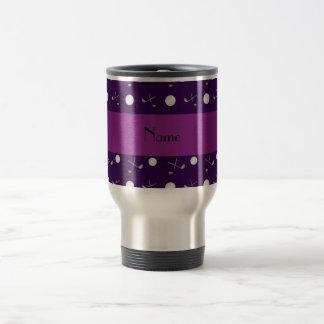 Personalized name purple golf balls travel mug