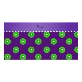 Personalized name purple green kiwi photo card